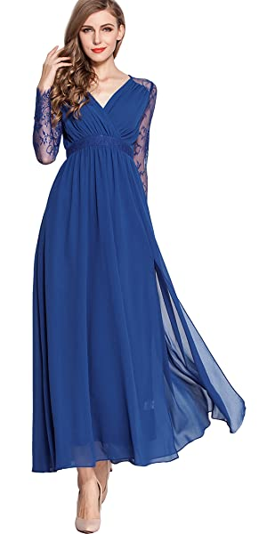 This fashion, long sleeve, v-neck, stylish, blue, long evening dress with sexy split side design perfectly shows your charming body curve.