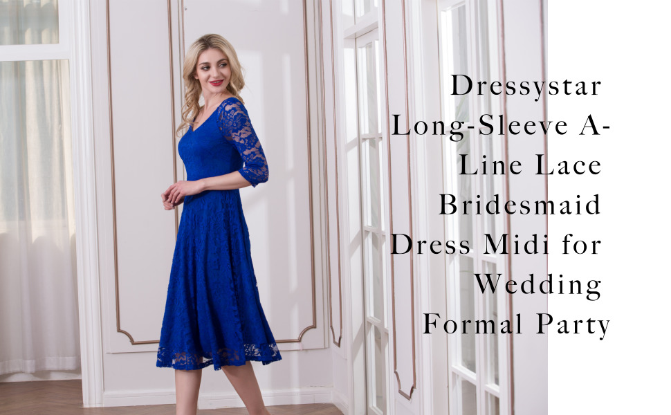5e00cdeec67 Dressystar Long-Sleeve A-Line Lace Bridesmaid Dress Midi for Wedding ...