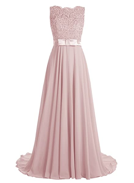 Dressystar Elegant Long Prom Gown Lace Bridal Dress with Flowing Chiffon Skirt
