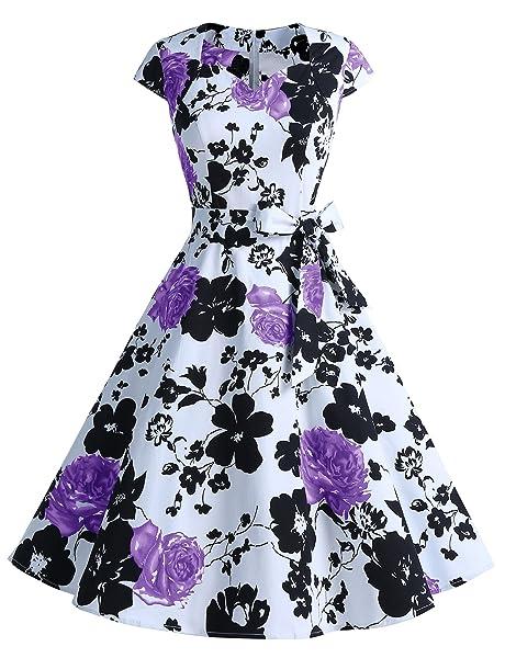 Dressystar Women Vintage 1950s Swing Cap Sleeevs Prom Cocktail Dresses V Neck