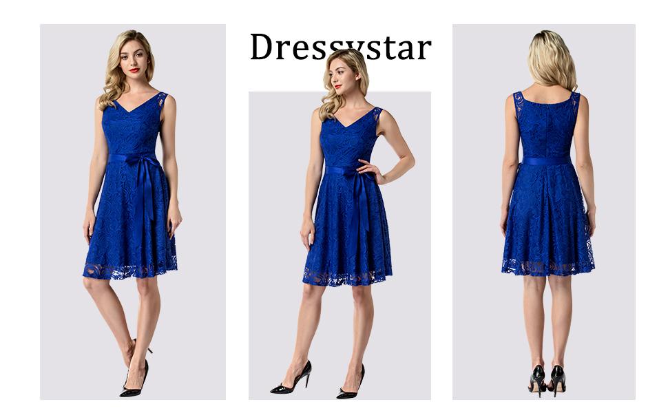 2ffba52a8d2 Dressystar Women Floral Lace Bridesmaid Party Dress Short Prom Dress V Neck