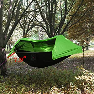 Breathable and soft surface tough texture strong elastic. The size is 106 * 55 inches. The distance between the outer tent and hammock is more than 7.9 ... & Amazon.com: HOAEY Camping Hammock with Mosquito Net + Rain Cover ...