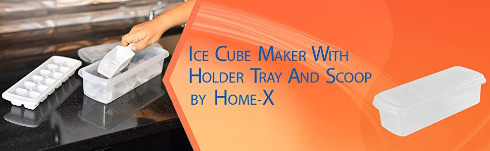 HOME-X Ice Cube Maker with Holder Tray and Scoop Home Bar Accessories for Freezer