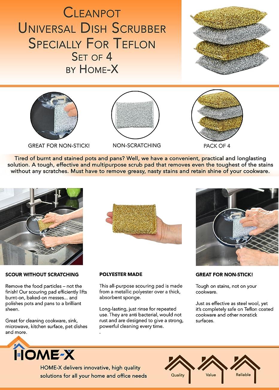 Amazon.com: Home-X Metallic Pot Scrubber, Teflon Scrubber, Pot ...