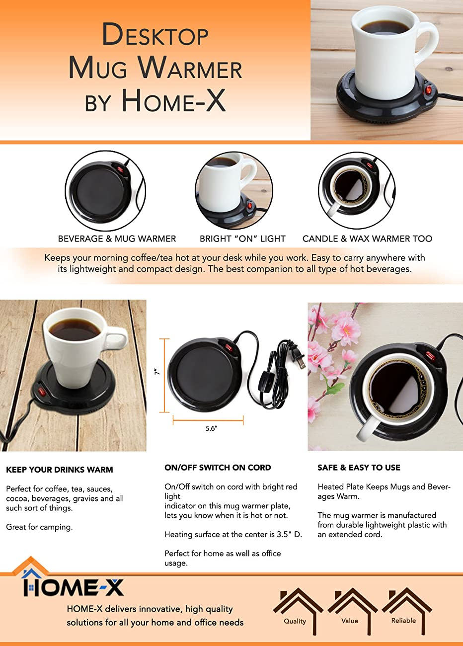 Home X Mug Warmer, Desktop Heated Coffee U0026 Tea   Candle U0026 Wax Warmer (Black)