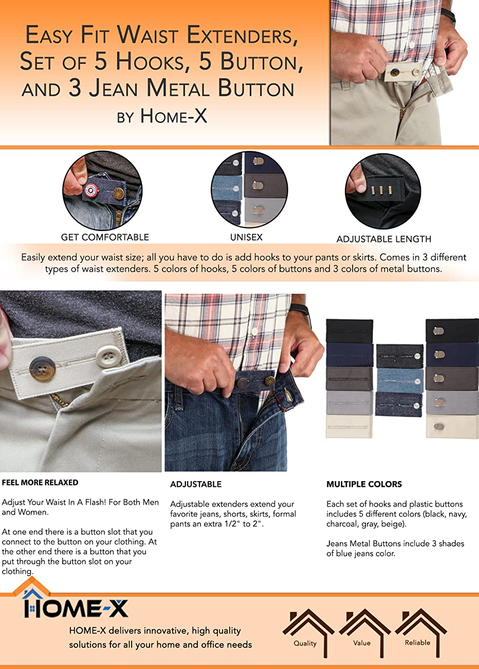 Home-X Easy Fit Hooks /& Buttons for Slacks Waistband Extenders to Give You a Mo