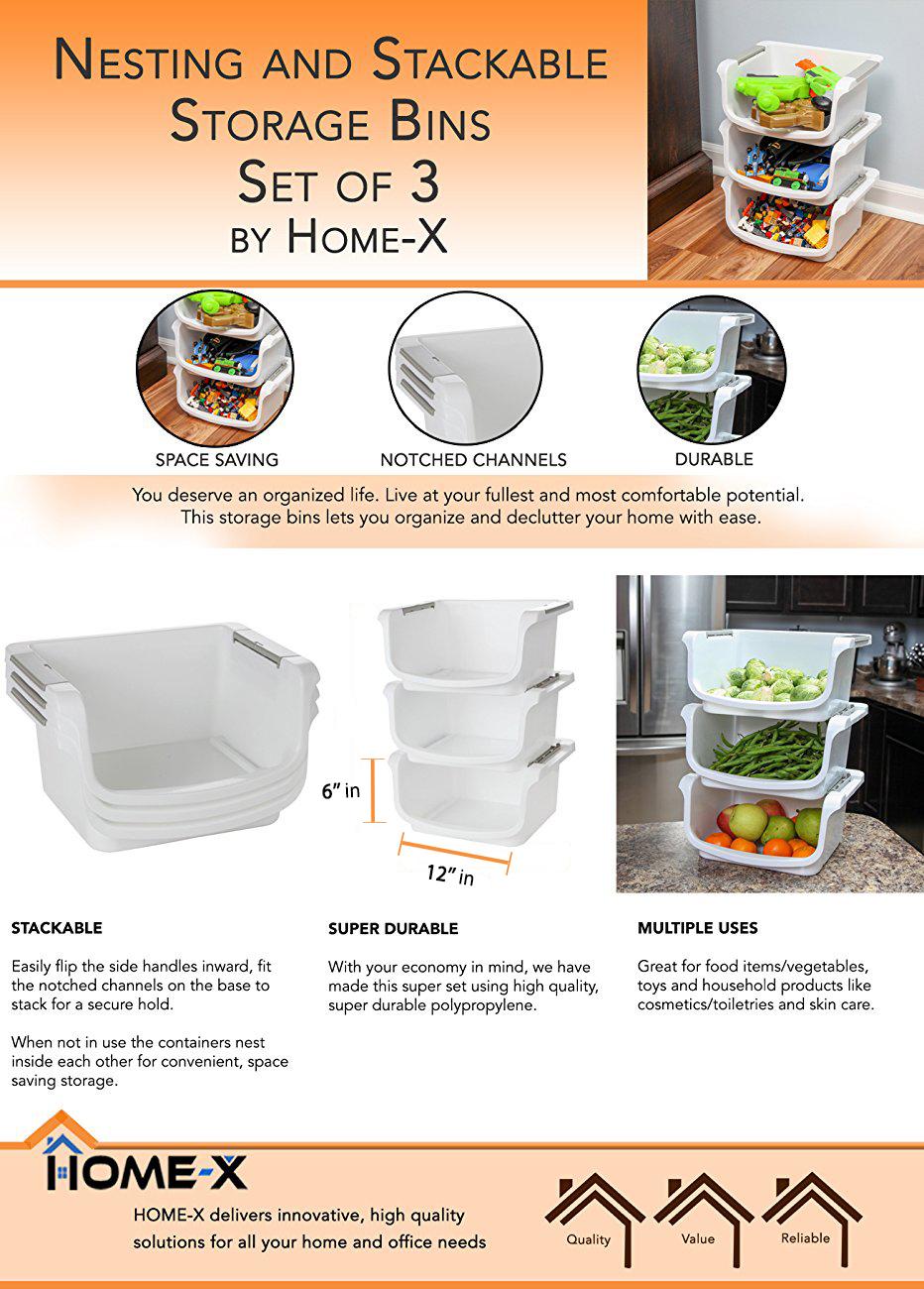 "Amazon.com: Home-X - Small Nesting and Stackable Storage Bins, Set of 3 (Storage Area 10""L x 8""W"