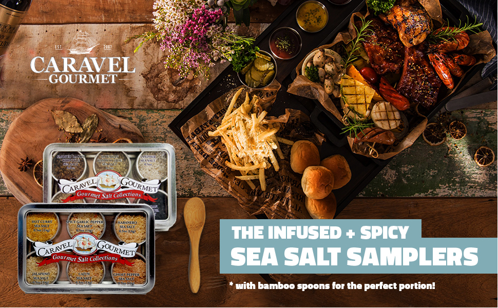 gourmet sea salt sampler two pack infused spicy great holiday gourmet cooking cooks gift host foodie