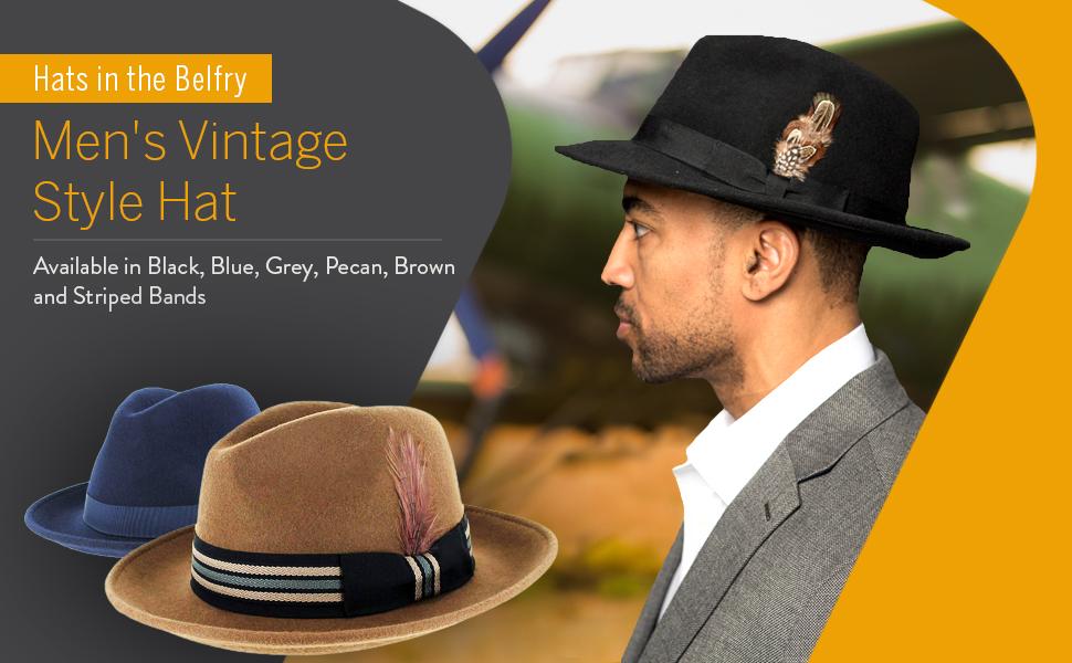861df56f Belfry Crushable Dress Fedora Men's Vintage Style Hat 100% Pure Wool ...