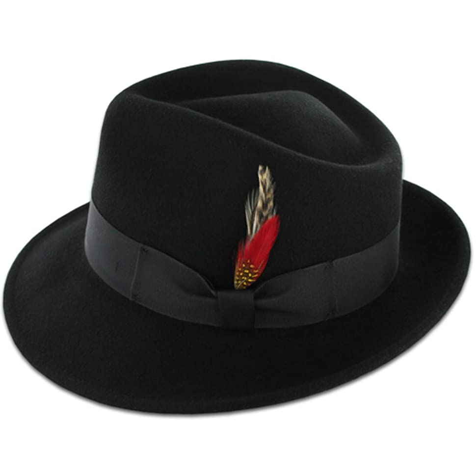 1940s Mens Hats | Fedora, Homburg, Pork Pie Hats Belfry Gangster 100% Wool Stain-Resistant Crushable Dress Fedora in 4 Colors $39.95 AT vintagedancer.com