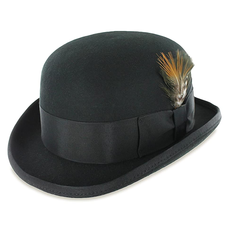 1920s Mens Hats & Caps | Gatsby, Peaky Blinders, Gangster Belfry Bowler Derby 100% Pure Wool Theater Quality Hat in Black Blue Grey $39.95 AT vintagedancer.com