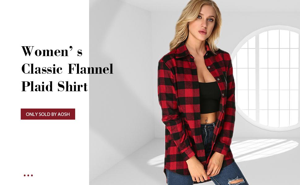 b1bb4831cbab3 ZANZEA Womens Buffalo Plaid Flannel Shirt Button Down Long Sleeve ...