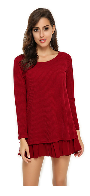 fad4c442291 ZANZEA Women Dress Lace Hem Long Sleeve Party Round Neck Plus Size ...