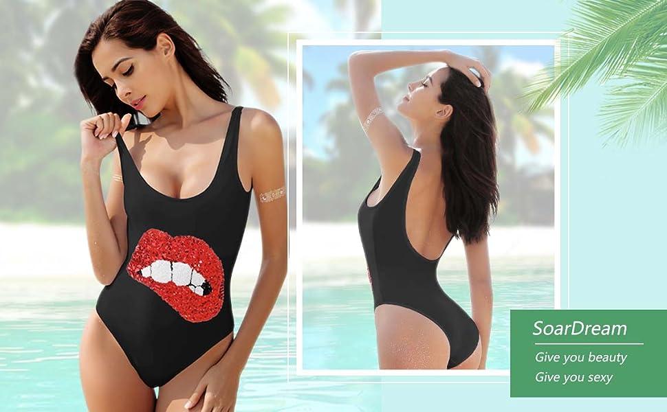 SoarDream White Black One-Piece Swimsuit Beach Swimwear Bathing Suit ... 9f0477985