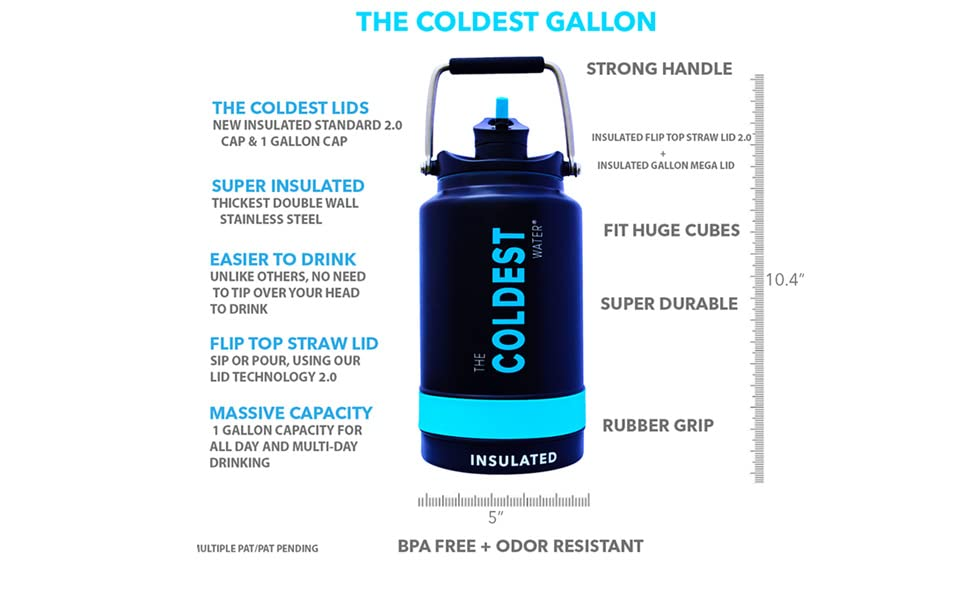 Keeps Cold Half Gallon Water Bottle Fitness Water Jug Stainless Steel