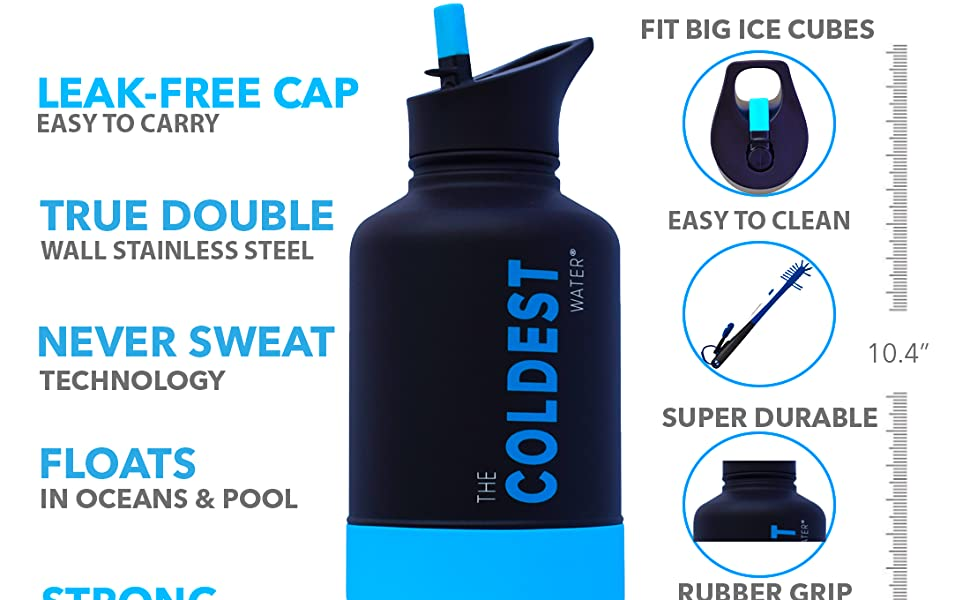 Amazon.com: The Coldest Sports Botella de agua de 64 oz de ...