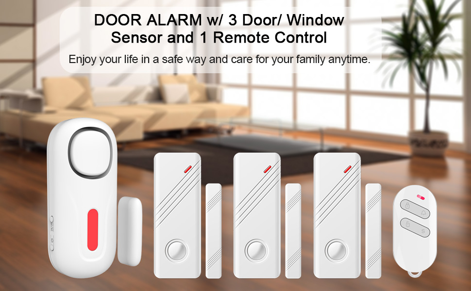 ERAY Window Door Alarm, D2 Wireless DIY Home Kids Child Elder Security Burglar System Gate Alert Kit with 3 Door Sensor and 1 Remote Control - Battery ...