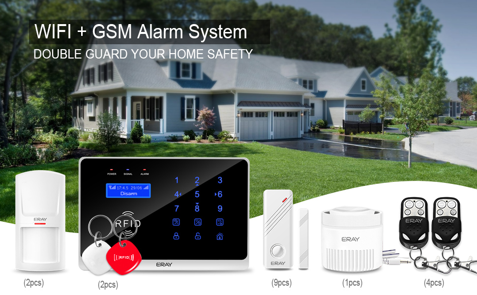 ERAY GSM 3G WiFi Home Security Alarm System, Wireless Burglar Alert SMS Calling Alarms with 9 Door Sensors, 2 Motion Detectors, 2 RFID Cards and 2 ...