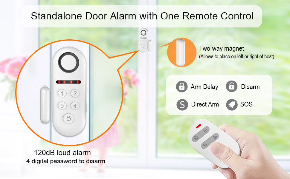 ERAY Door Alarm Wireless, D3 DIY Home Kids Child Elder Security Burglar System Gate Alert Kit, Delay Arm/Alarm Function, Expandable 40 Sensors and 10 ...