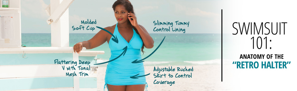 914d3170e06 Be foxy this season in the true spirit of the sexy 70s with the Retro  Halter Plus Size Swimdress from Always For Me. This flirty one-piece is  sensational, ...