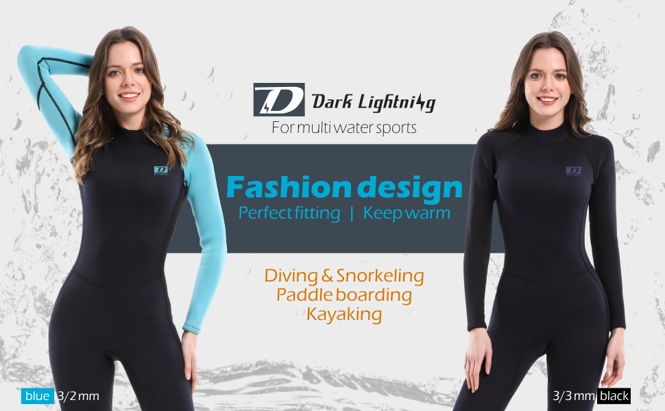 Dark Lightning Premium CR Neoprene Wetsuit, Women and Mens Full Suit Scuba Diving Thermal Wetsuit in 3/2mm and 5/4mm