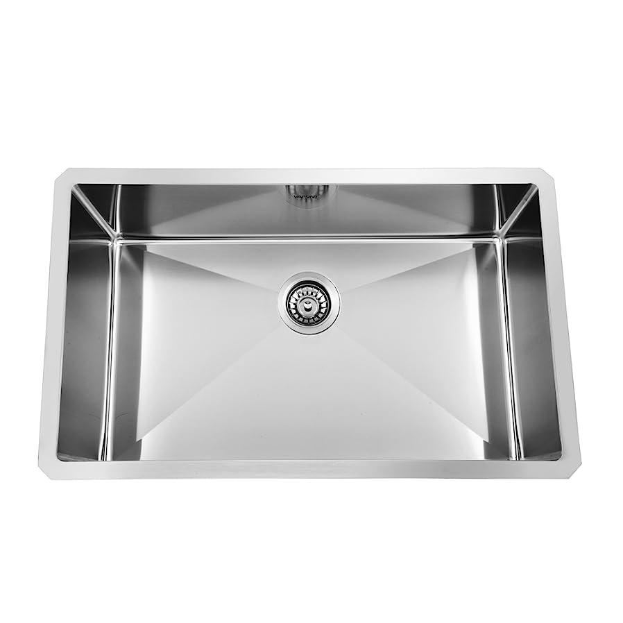 30 inch 18 gauge 10 inch deep handmade drop in undermount single bowl stainless steel kitchen sinks vapsint commercial 30 inch 18 gauge handmade drop in undermount      rh   amazon com