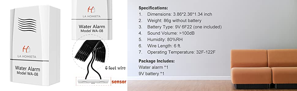 Water Alarm and Sensor for Water Leakage Detection, Sensitive Flood Alarm,  Battery Included, LA Homieta WA08
