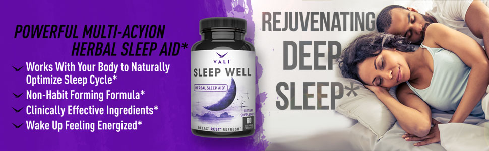 Sleep Well Natural Sleep Aid Supplement Vegan Non Habit Forming Herbal Sleeping Pills Calm Support