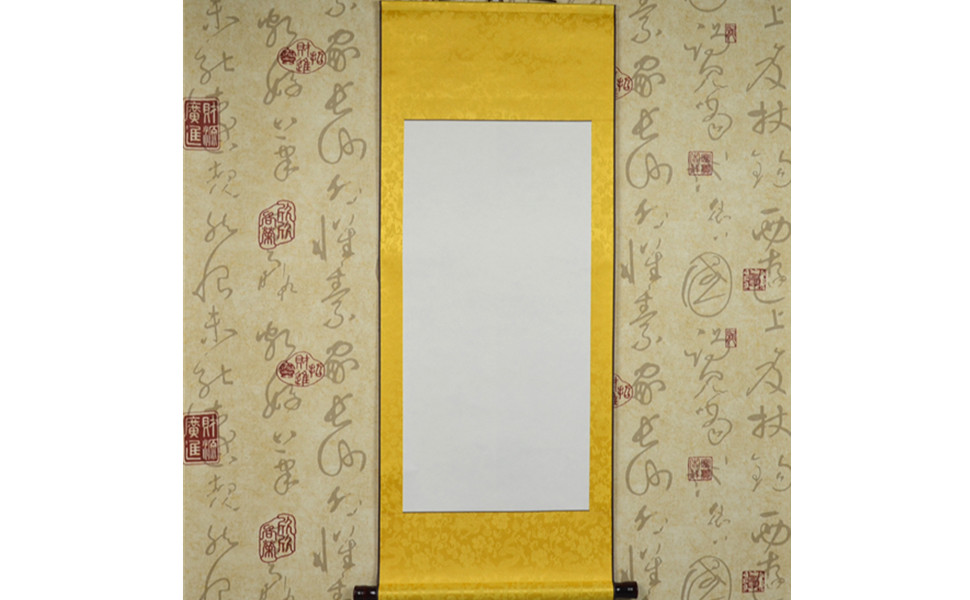 JZ001 Hmayart Kakejiku Blank Mounting Hanging Scroll Chinese Rice Xuan Paper Art Wall Scrolls for Sumie and Calligraphy (40 Inch) (JZ001_Long Wen ...