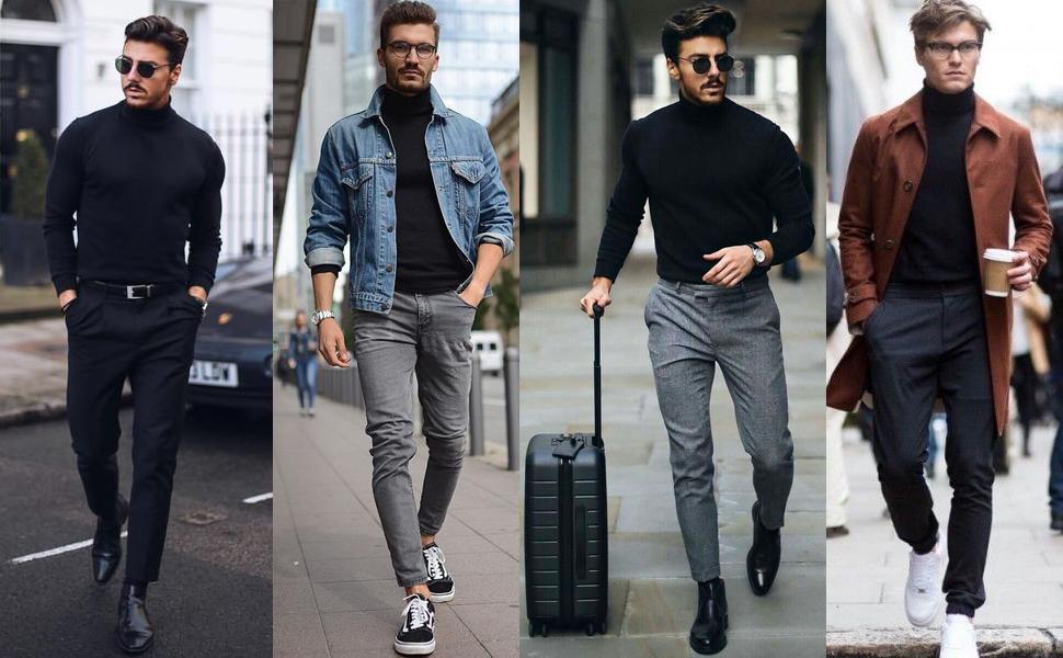 RAGEMALL Mens Basic Turtleneck Thermal Long Sleeve T,Shirt Sweatshirt Cozy  Pullover Tops