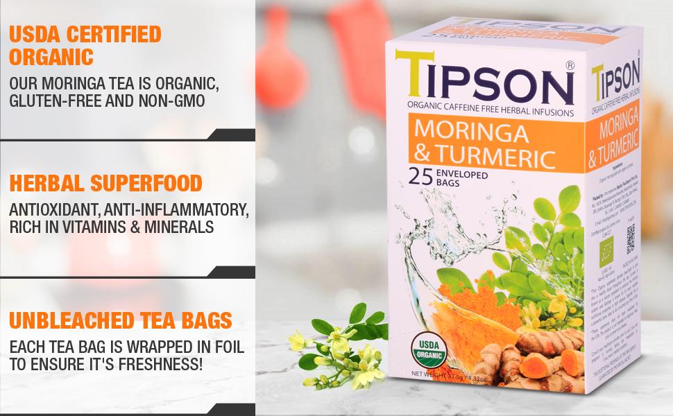 Tipson, tea, herbal tea, usda certified, moringa,turmeric, spice