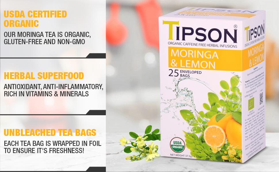 Tipson, tea, herbal tea, usda certified, moringa, lemon