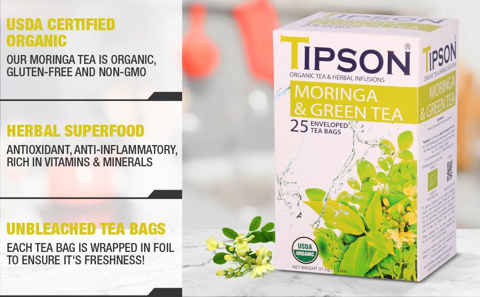 Tipson, tea, herbal tea, usda certified, moringa, green tea