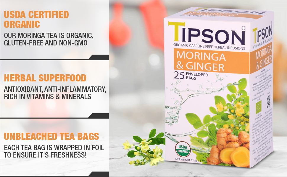 Tipson, tea, herbal tea, usda certified, moringa, ginger