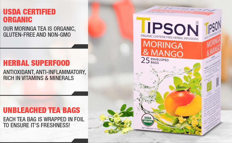 Tipson, tea, herbal tea, usda certified, moringa, mango