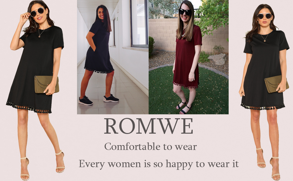 4f146c7843744 Comfy Swing Tassel Hem Round Neck Plain Summer Beach Dress with Pocket.  comfy swing dress for women