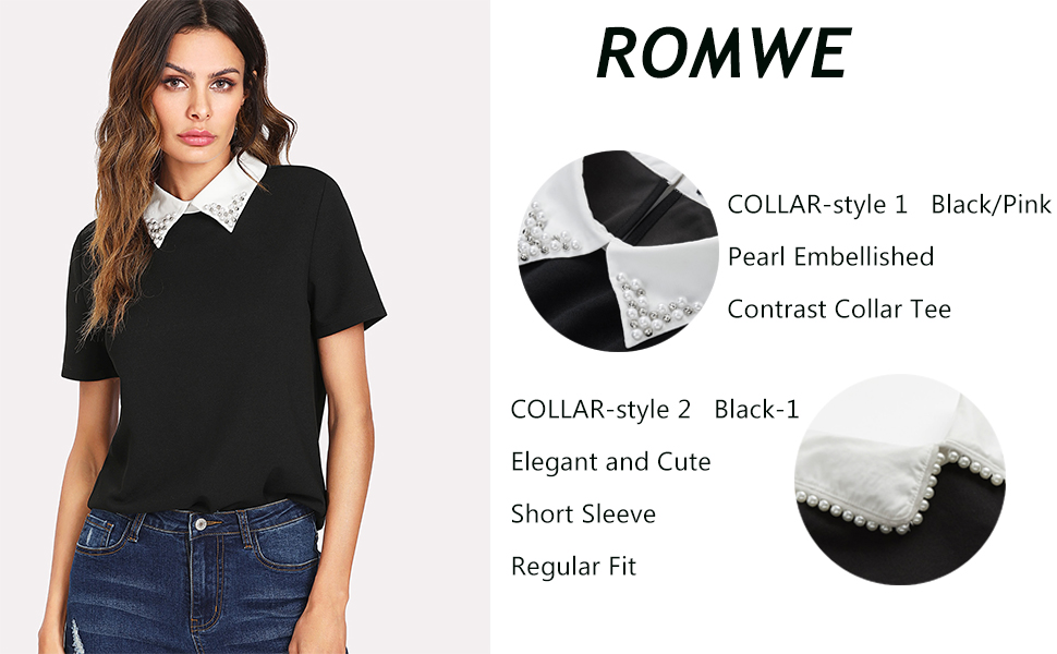 62ac5e94 Romwe Women's Cute Contrast Collar Short Sleeve Casual Work Blouse ...