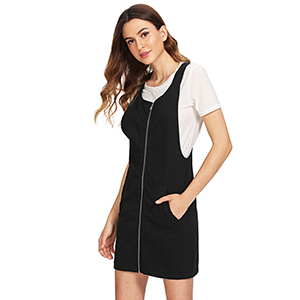 a012447dca Romwe Women s Zip Front Overall Short Dress with Pockets at Amazon ...