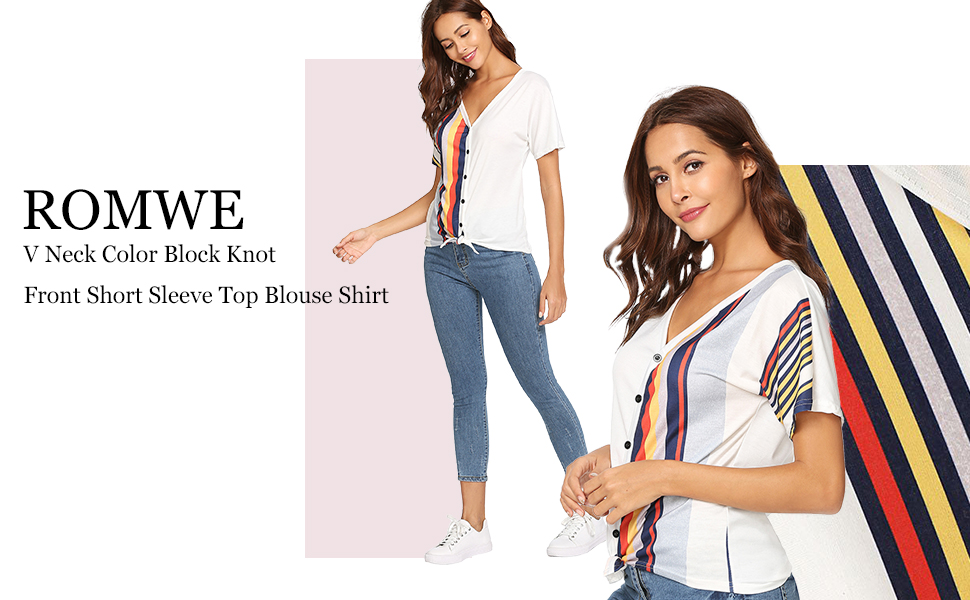 505c0d44a921aa Amazon.com  ROMWE Women s V Neck Contrast Striped Button Tee Shirt ...