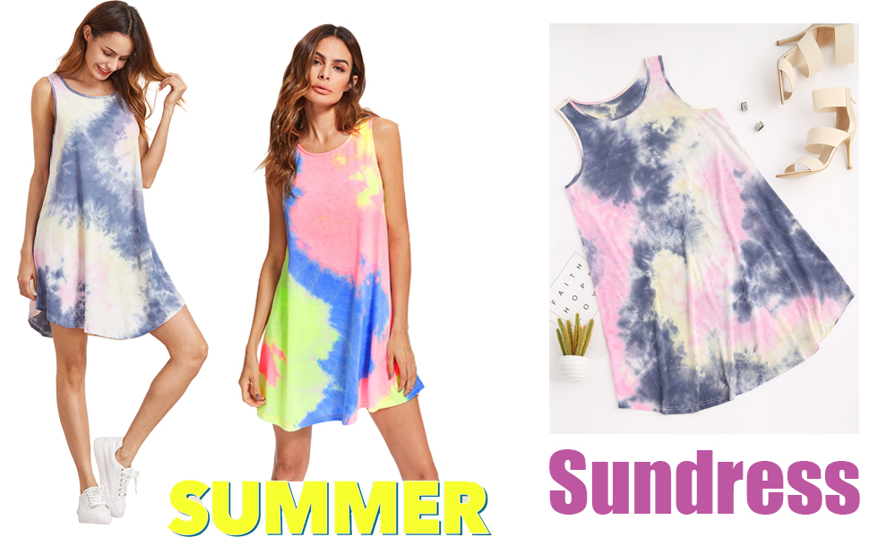 Womens Tie Dye Print Summer Beach Sleeveless Swing T-Shirt Dress Loose Tank Dress Sundress Swimsuit Cover Up Mini Dress