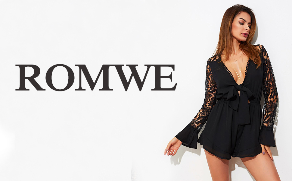 311ae0e58f Amazon.com  ROMWE Women s Pom Pom Detail Knotted Front Lace Sleeve ...