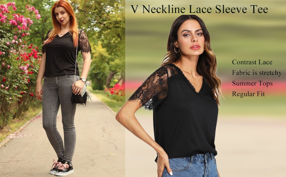 3d35ee58b0652 Romwe Women's Casual V Neck Lace Short Sleeve Basic Tee Tops at ...