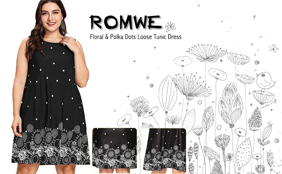 5d7d65932341d Romwe Women's Plus Size Summer Sundress Floral Printed Sleeveless ...
