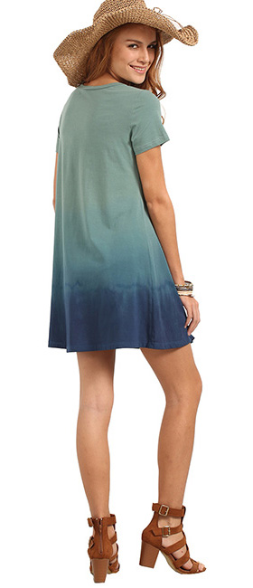 3ff42ebc06e1 Romwe Women s Tunic Swing T-Shirt Dress Short Sleeve Tie Dye Ombre ...