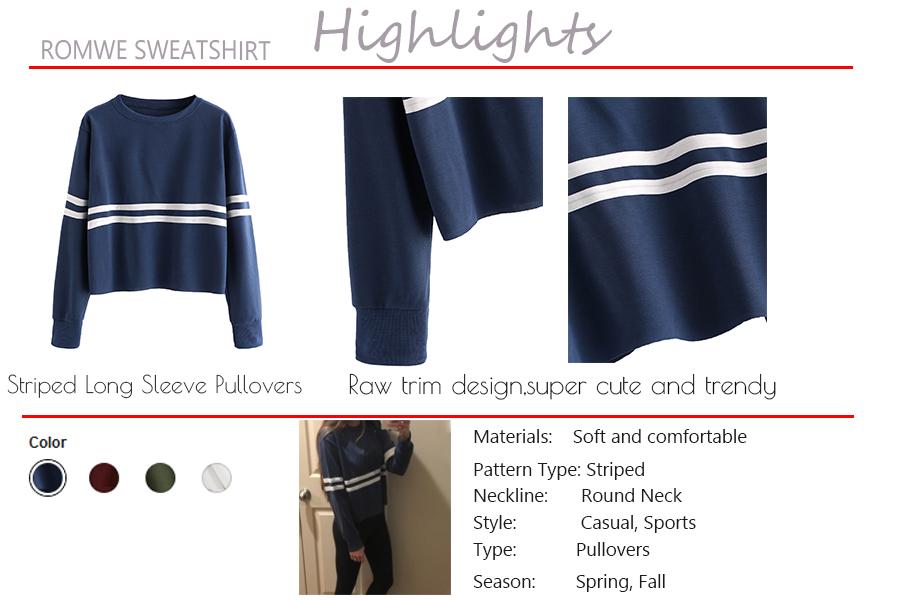 5533ef506af8e0 Romwe Women's Casual Striped Long Sleeve Crop Top Sweatshirt at ...