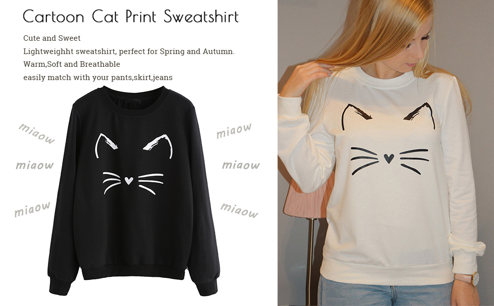 Beauty/&Fashions Cat Face Lady Cotton Fleeces Fashion Long-Sleeves Sweatshirt Jacket