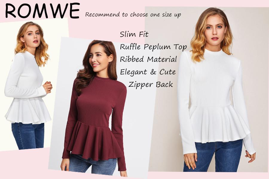 e39dc1bff Romwe Women s Elegant Long Sleeve Ribbed Knit Ruffle Hem Peplum Top ...