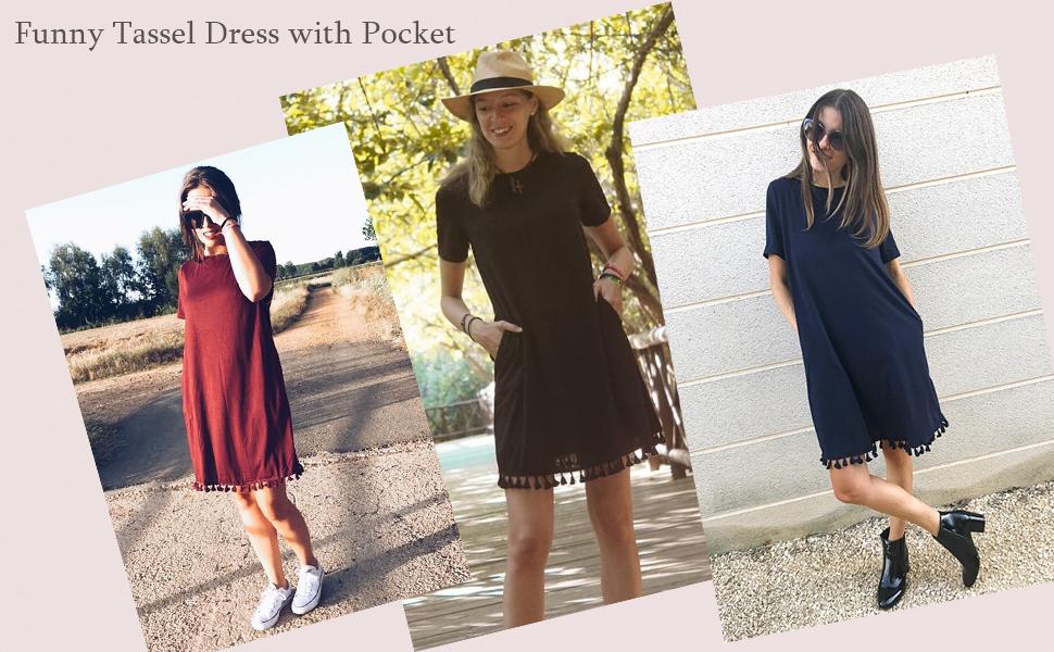 acf3124bd15b9 ... Short Sleeve Tassel Hem Loose Casual Swing T-shirt Dress with Pocket. loose  tunic dress with pocket