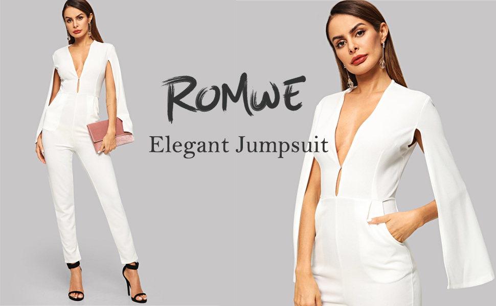 81888f4accf3 Romwe Women s Casual Plunging Neck Cloak Sleeve Solid Color Elegant Jumpsuit