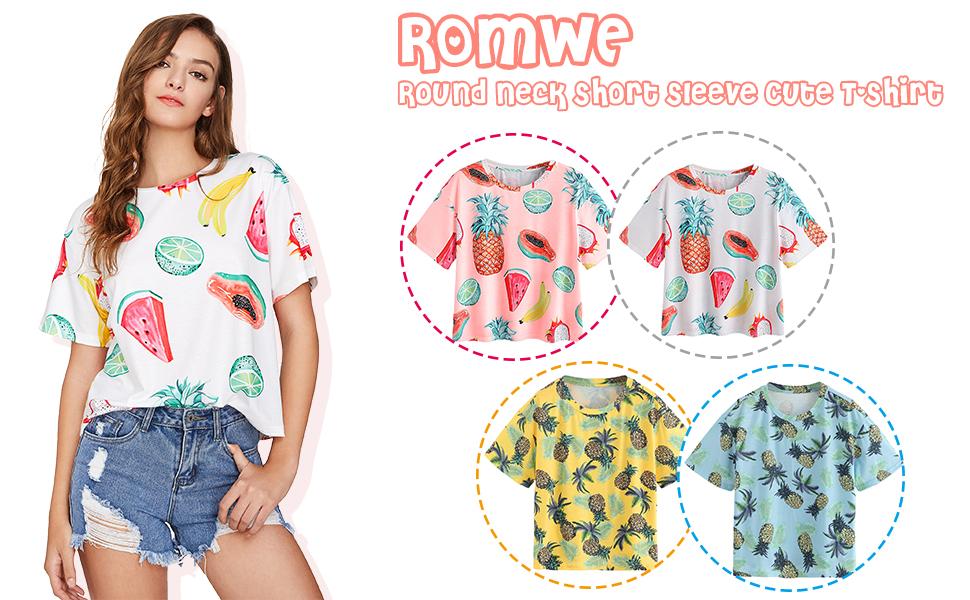 3d21970d1d Romwe Women's Allover Fruit Print Top Short Sleeve Cute T-Shirt